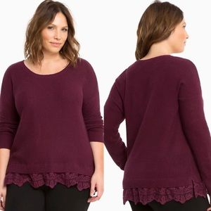 Torrid lace trim sweater burgundy scoop neck